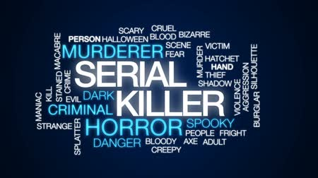 serial : Serial killer animated word cloud, text design animation.