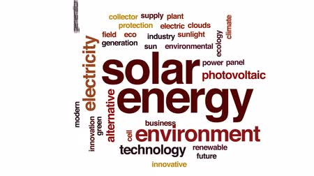 kolektor : Solar energy animated word cloud, text design animation.