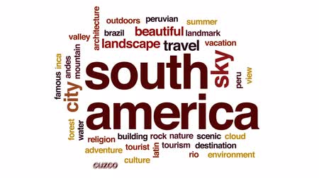 brezilya : South America animated word cloud, text design animation. Stok Video