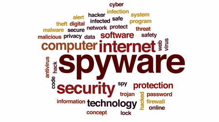 computer program : Spyware animated word cloud, text design animation.