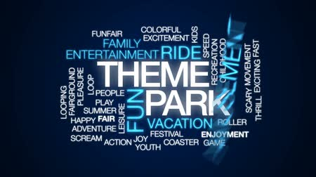 targi : Theme park animated word cloud, text design animation. Wideo