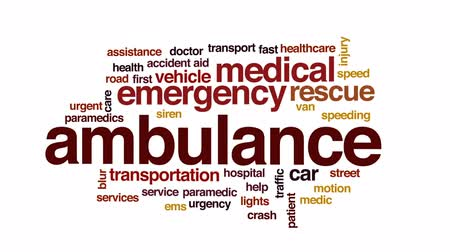 excesso de velocidade : Ambulance animated word cloud, text design animation.