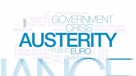 expenditure : Austerity animated word cloud, text design animation. Kinetic typography.