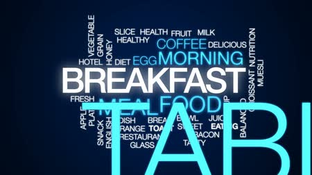 balanced : Breakfast design animated word cloud, text design animation.
