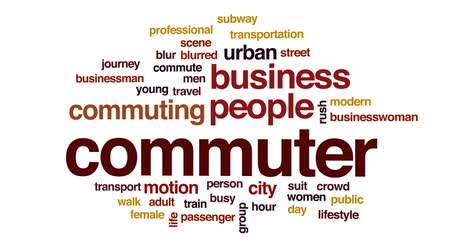 horas : Commuter animated word cloud, text design animation.