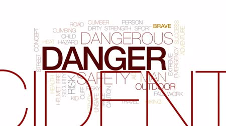 riskli : Danger animated word cloud, text design animation. Kinetic typography. Stok Video