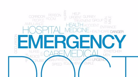 ér : Emergency animated word cloud, text design animation. Kinetic typography. Stock mozgókép