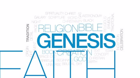 biblia : Genesis animated word cloud, text design animation. Kinetic typography. Wideo
