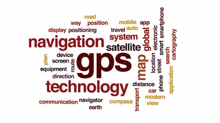 pozisyon : GPS animated word cloud, text design animation. Stok Video