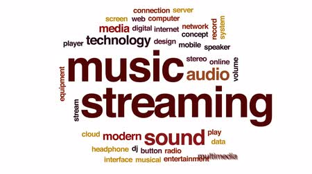 seamless loop : Music streaming animated word cloud, text design animation.