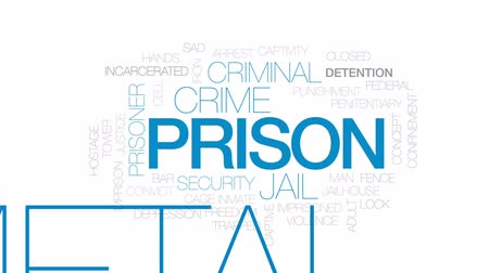 заключенный : Prison animated word cloud, text design animation. Kinetic typography.