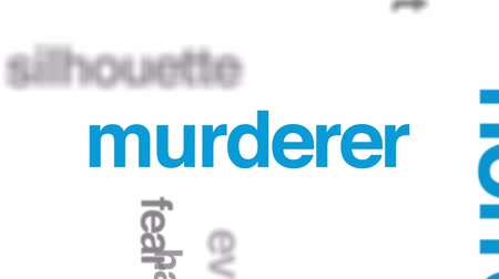 жестокий : Serial killer animated word cloud, text design animation.