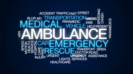 paramedics : Ambulance animated word cloud, text design animation.