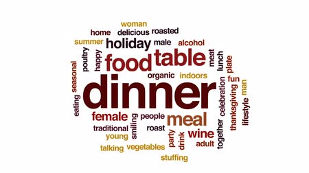благодарение : Dinner animated word cloud, text design animation. Стоковые видеозаписи