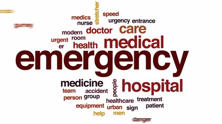 acil : Emergency animated word cloud, text design animation. Stok Video