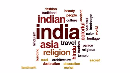 mahal : India animated word cloud, text design animation.