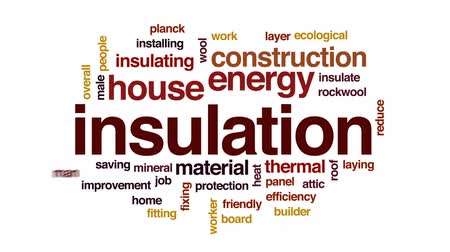 izolace : Insulation animated word cloud, text design animation.