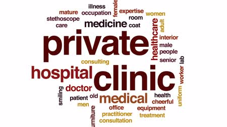 healthy office : Private clinic animated word cloud, text design animation.