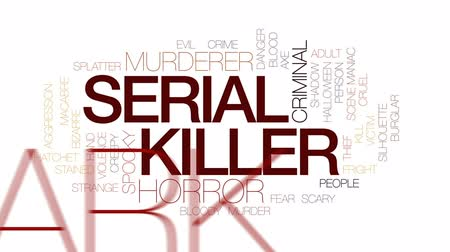zdjęcia seryjne : Serial killer animated word cloud, text design animation. Kinetic typography. Wideo