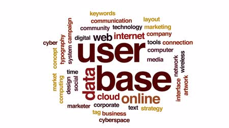 anahtar kelime : User base animated word cloud, text design animation.