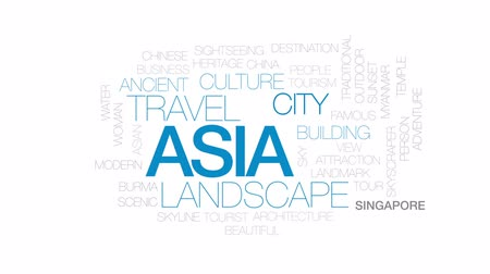 mianmar : Asia animated word cloud, text design animation. Kinetic typography.