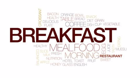 тост : Breakfast design animated word cloud, text design animation. Kinetic typography.