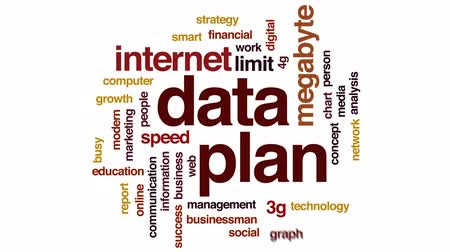data cloud : Data plan animated word cloud, text design animation. Stock Footage