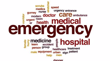 ambulância : Emergency animated word cloud, text design animation. Stock Footage