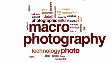 makro fotografie : Macro photography animated word cloud, text design animation.