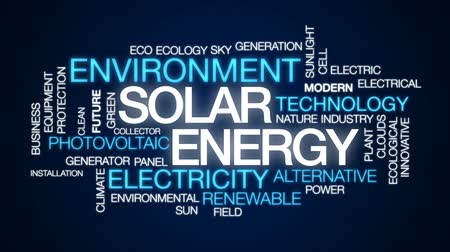 fotovoltaik : Solar energy animated word cloud, text design animation.