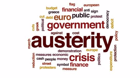 austerity : Austerity animated word cloud, text design animation.