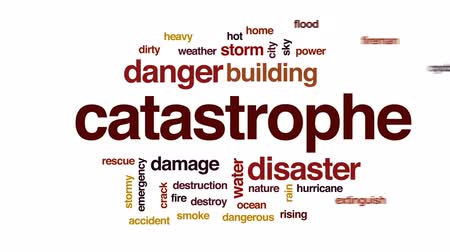 rachaduras : Catastrophe animated word cloud, text design animation.
