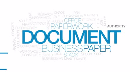 organizacja : Document animated word cloud, text design animation. Kinetic typography.