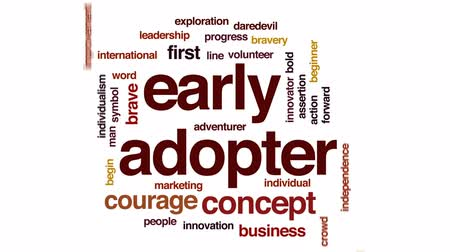 first person : Early adopter animated word cloud, text design animation. Stock Footage