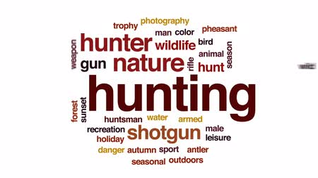 game hunting : Hunting animated word cloud, text design animation.