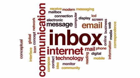 mailbox : Inbox animated word cloud, text design animation.