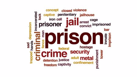 captivity : Prison animated word cloud, text design animation.