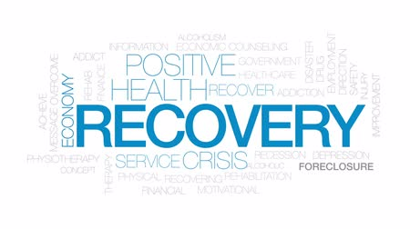 addiction recovery : Recovery animated word cloud, text design animation. Kinetic typography. Stock Footage