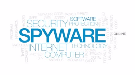 trojan : Spyware animated word cloud, text design animation. Kinetic typography. Stock Footage