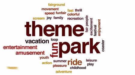 terça feira : Theme park animated word cloud, text design animation. Stock Footage