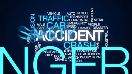 kask : Accident animated word cloud, text design animation. Stok Video