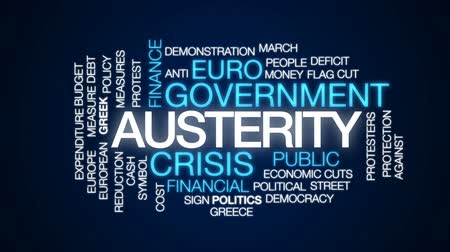 greek flag : Austerity animated word cloud, text design animation.