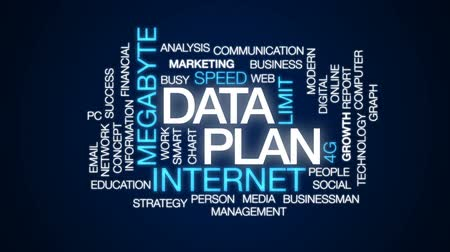 limit : Data plan animated word cloud, text design animation. Stock Footage