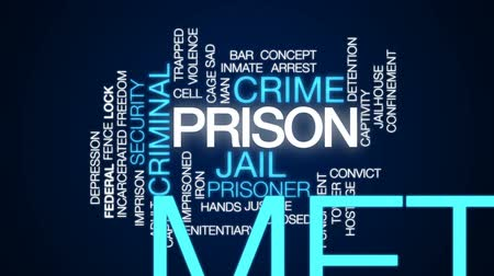 areszt : Prison animated word cloud, text design animation.