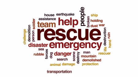 rescuer : Rescue animated word cloud, text design animation. Stock Footage