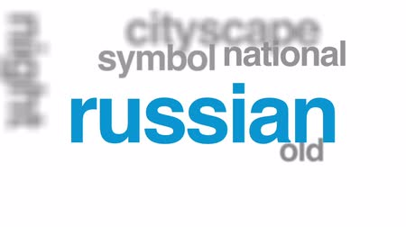 národní památka : Russia animated word cloud, text design animation.