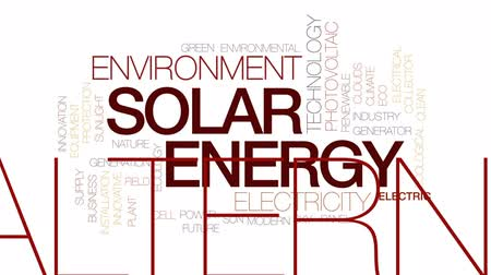 fotovoltaik : Solar energy animated word cloud, text design animation. Kinetic typography.