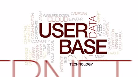 anahtar kelime : User base animated word cloud, text design animation. Kinetic typography. Stok Video