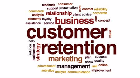 megbízható : Customer retention animated word cloud, text design animation.
