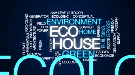reciclagem : Eco house animated word cloud, text design animation. Vídeos